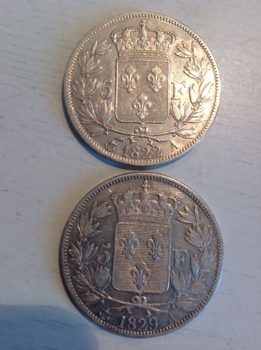 France - 5 Francs 1822 A and 1829 A (2 coins) - Silver