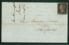 Great Britain 1840 - Penny Black on cover, 4 margins