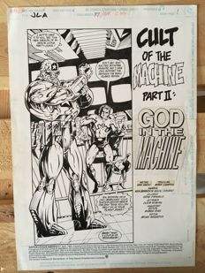 Original Art Page By Mark Campos, Ken Branch And Kevin Conrad - DC Comics - Justice League America #87 - Page 1 - Title Splash - (1994)