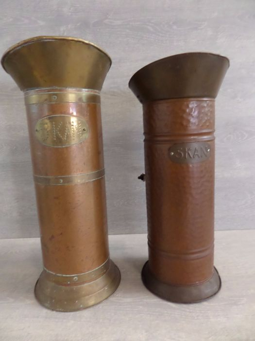 Two copper umbrella stands - 1960s - the Netherlands