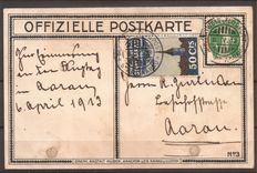 Switzerland 1913 – airmail forerunner no. I, on postcard – airmail SBK no. I, Michel no. I