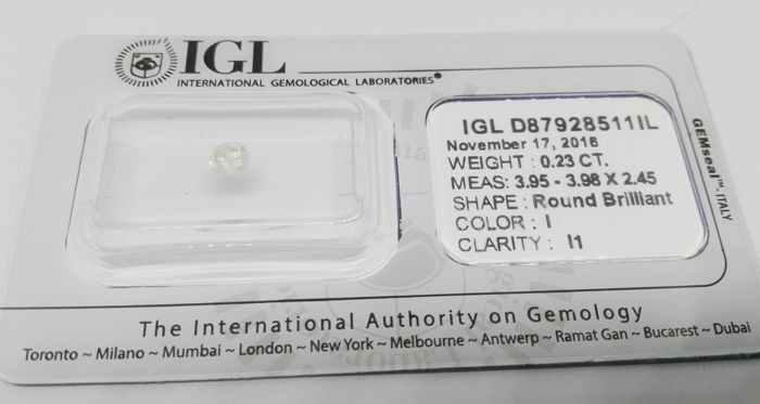 Brilliant cut diamond of 0.23 ct – White colour – I1 I