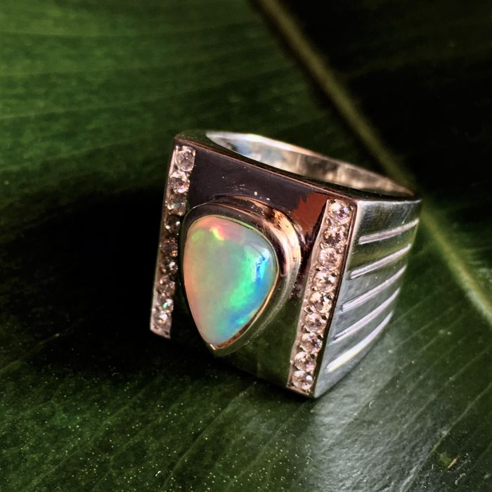 Handmade Multicolor Opal Silver 925 Ring with Zircons - Size 28-68 - Weight gr. 15 - Carats 2,50