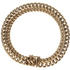 14 kt Yellow gold double curb link bracelet – Length: 20.5 cm.