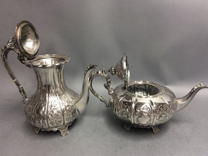 Antique silver plated tea and coffee set on a serving tray Cavalier England ca. 1880 & Antique silver plated tea and coffee set on a serving tray Cavalier ...