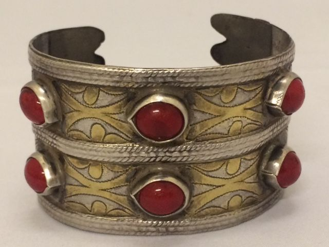 Silver cuff bracelet with carnelian, Turkmenistan, around 1980