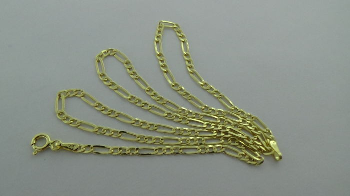 14 kt Gold Figaro Link Necklace – Length: