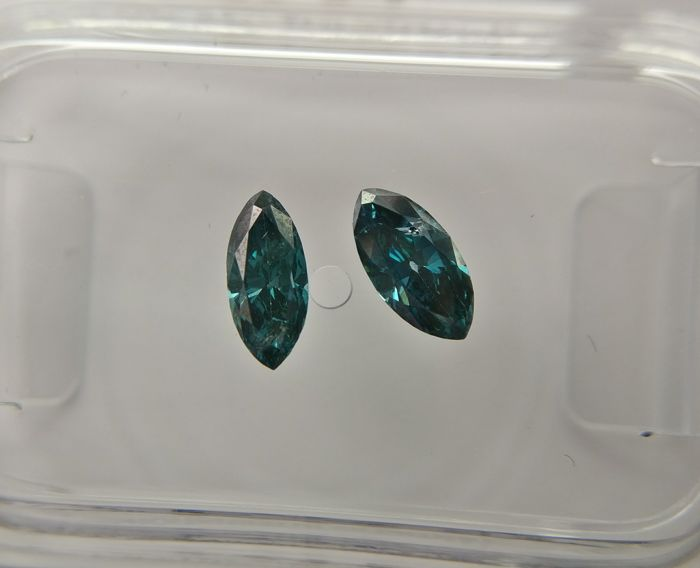 Lot of 2 Marquise cut diamonds total 0.47 ct Fancy Deep Greenish Blue SI2