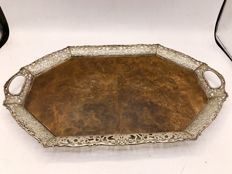 Large oval serving tray with Dutch silver edge - 1947