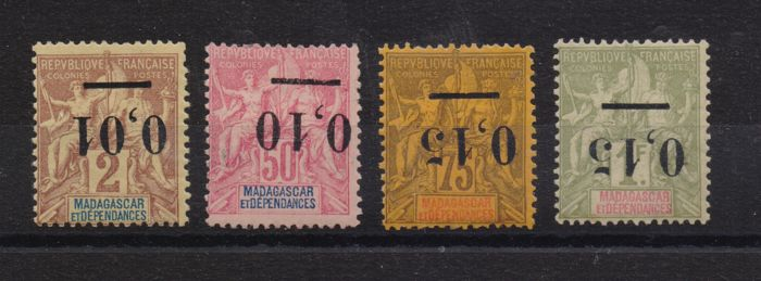 Madagascar, 1902 –  Stamps from 1896 with overturned overprint –  Yvert n. 51A, 53A, 54A, 55A