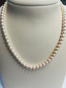 Freshwater pearls and 18 kt gold, length: 43 cm