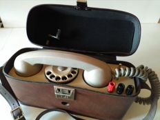 Portable field interview telephone from the second half of 20th century with case.