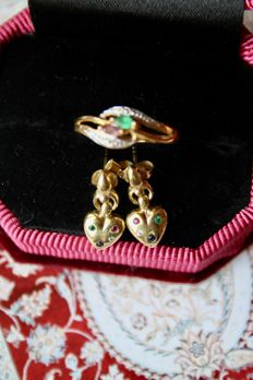 Vintage Set: Gold earrings with Ruby, Sapphire, Emerald, Topaz and Gold ring with a green and pink natural Tourmaline