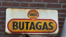 Shell butagas enamel advertising sign - 20th century - langcat bussum