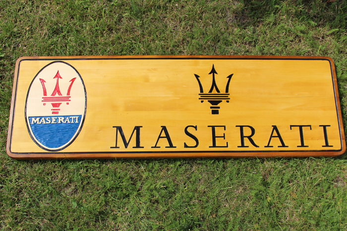 MASERATI  Unique X-Large logo carved in wood - 101 x 34 cm