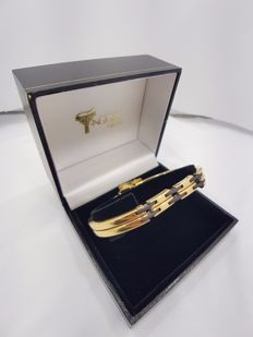 18ct Yellow Gold Gent's Bangle with Carbon Fibre - 75mm
