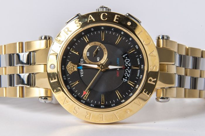 Versace – V-Race 29G79D009S079 model – GMT – Alarm – Men's wristwatch – New