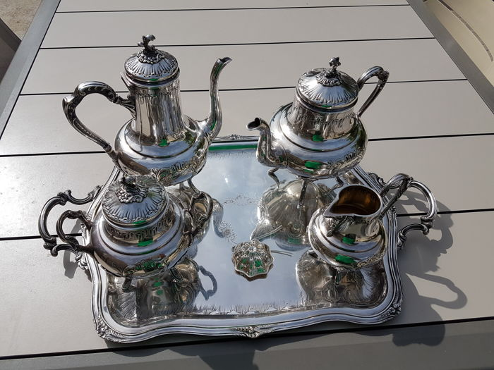 Antique coffee serving set tea leaves strainer, sugar bowl milk pot with serving tray from 1820