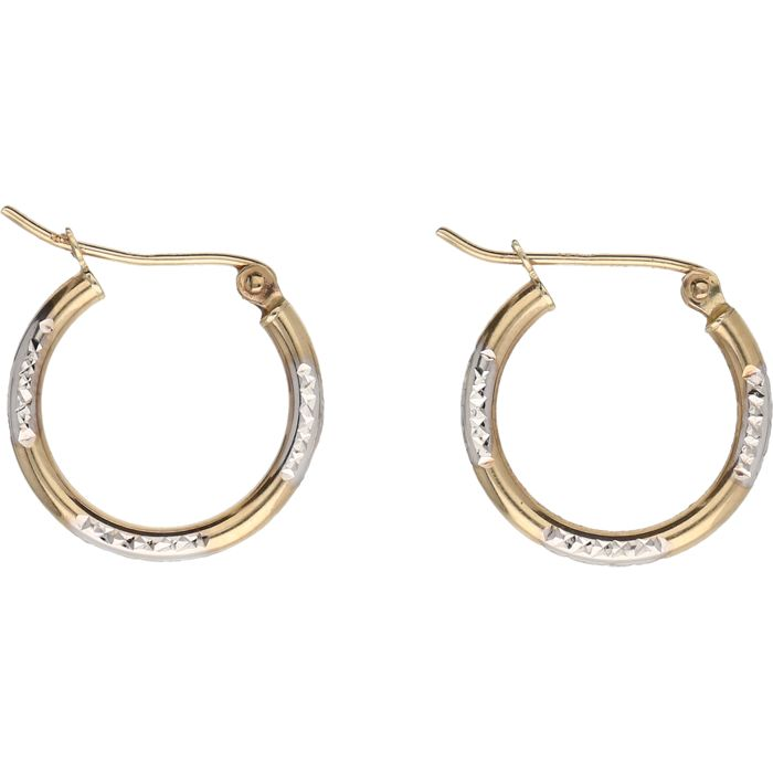 9 kt Below legal gold grade – Bi-colour, yellow/white gold, decorated full creole earrings – length x width: 1.6 x 1.7 cm