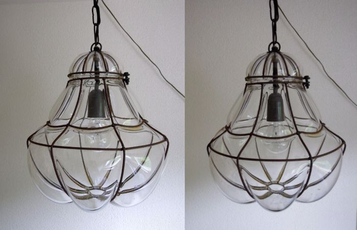 Two mouth-blown Venetian ceiling lamps