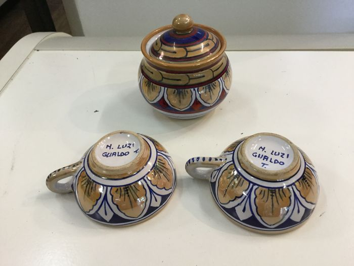 Gualdo Tadino ceramic set - late 1800 - hand painted with cobalt blue and pure gold