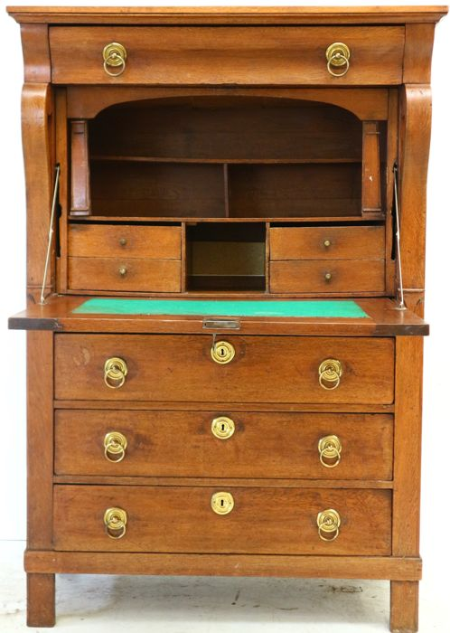 Oak secretary desk - The Netherlands - late Empire - ca. 1820