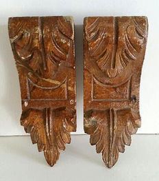 Antique wood carved consoles/wall decorations, ca. 1900