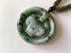 Flat ring carved Jadeite pendant, weight : 67.3 g