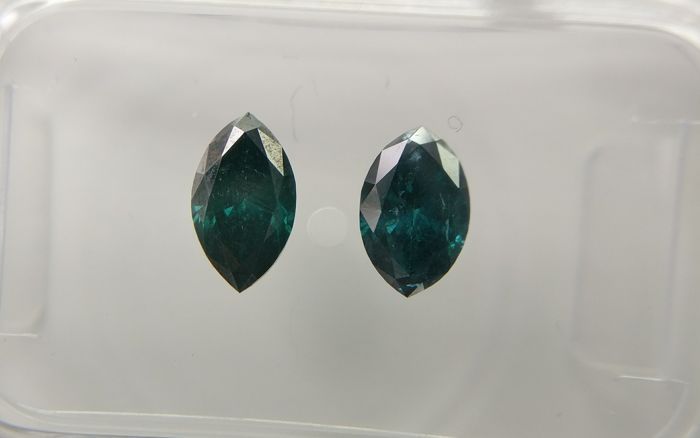 Lot of 2 Marquise cut diamonds total 0.90 ct Fancy Dark Greenish Blue I1