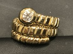 Gold snake ring with diamonds, from the 1970s