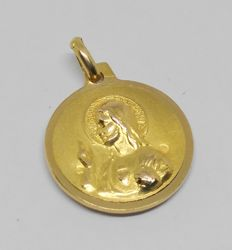 Yellow gold pendant, Our Lady of Mount Carmel and Christ