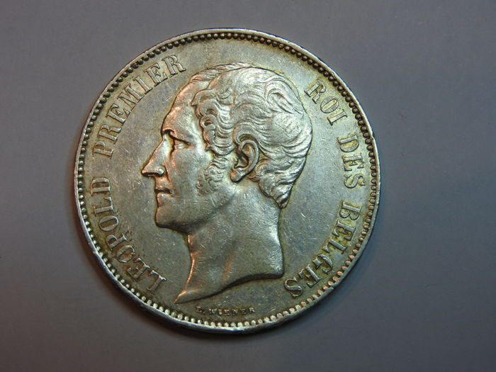 Belgium - 5 Francs 1865 Leopold I Bareheaded - silver