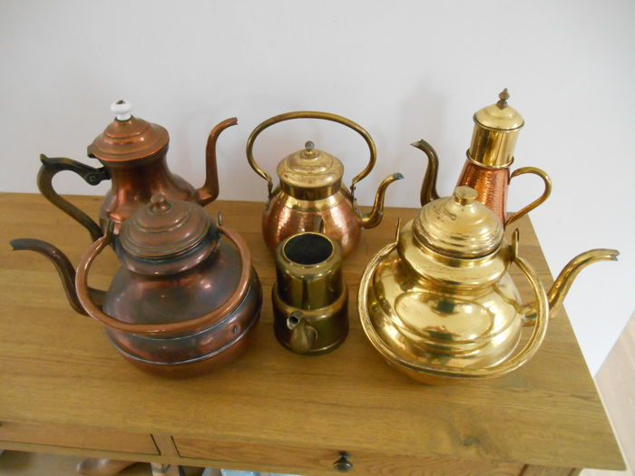 Lot of 6 old copper jugs