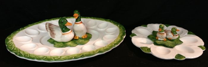 Pair of Bassano ceramics egg dishes, hand-painted - Two sizes - Italy, Cortina d'Ampezzo.
