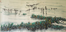 A Hand-painted chinese water-ink painting《吴冠中-太湖之滨》镜芯 - China - late 20th century
