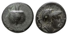 Greek Antiquity - PAMPHYLIA, Æ8 of Side (8mm; 1.43g.) ca 200 BC. (Athena / Pomegranate)