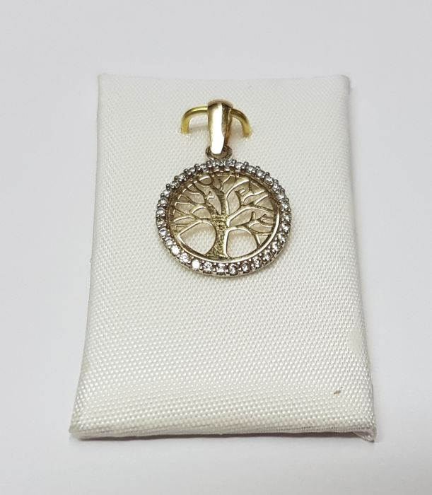 14 kt Gold, yellow gold pendant, tree of life, set with 36 zirconia stones, 0.005 ct each.