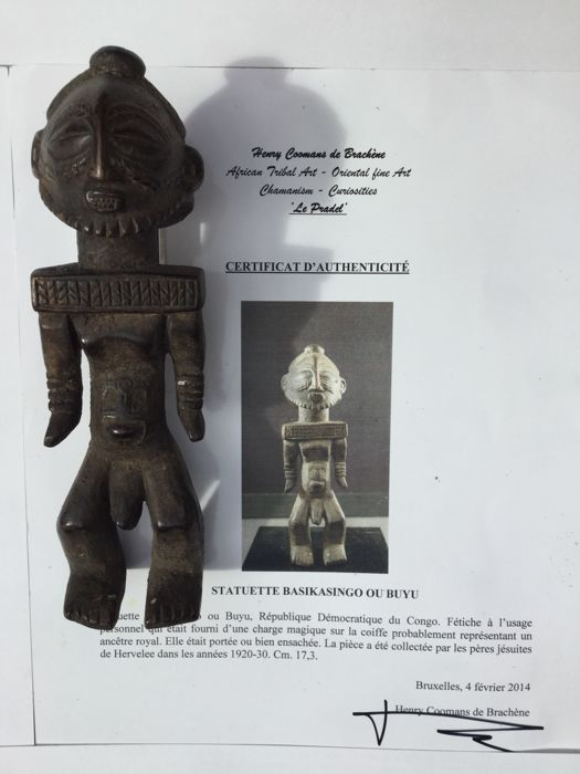 Basikasingo / BUYU figurine - D.R of Congo - Personal Fetish collected in the twenties/thirties by the Jesuit Fathers of Heverlee - With a certificate of authenticity