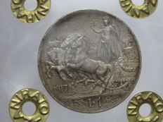 Kingdom of Italy – 1 Lira 1917 'Quadriga Briosa' – silver