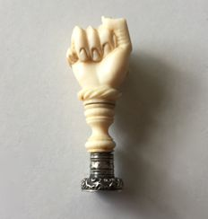 "Rare ""Fist of Vengeance (Main de Vengeance)"" (Woman's Hand) Seal. Ivory and Sterling Silver"