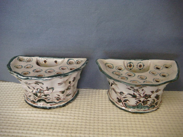 MOUSTIERS signed  OLERYS - pair of old flower holders in earthenware - 18th century France