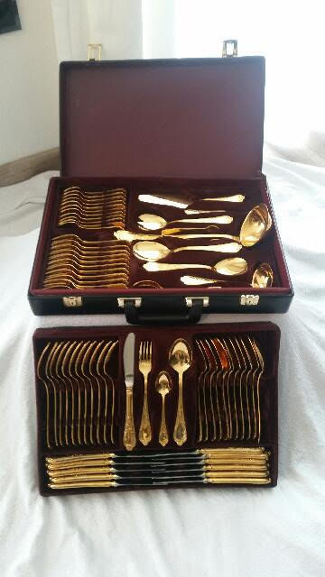 Luxury cutlery set model Rokoko (70 pieces 23/24 carat gold-plated)