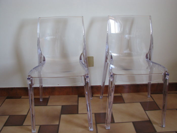 Unknown Designer U2013 Pair Of Transparent Polycarbonate Chairs.