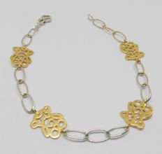 White and yellow gold bracelet with little bears
