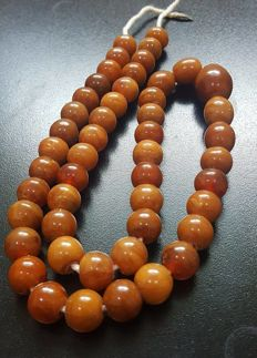 Natural Baltic Amber necklace egg yolk butterscotch colour, 48 gr