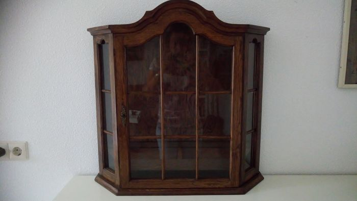 Gorgeous oak wooden wall display cabinet (showcase)