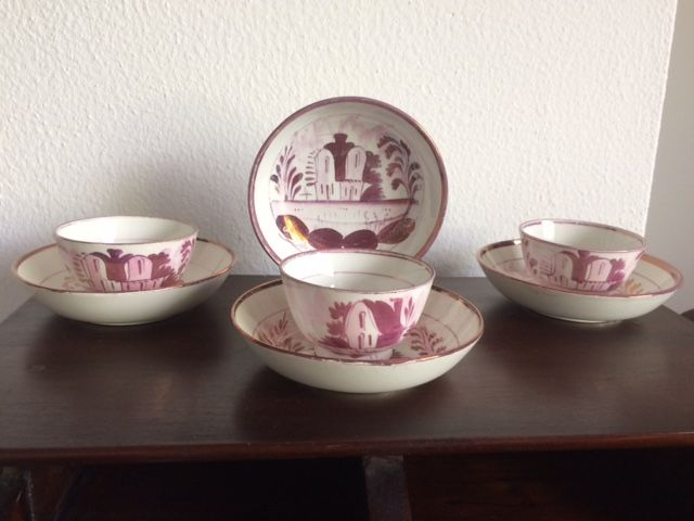 John Dawson & Co. Early pearlware porcelain, ' Low Ford Pottery ', 3x cup and 4x saucer