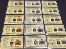 USA - American certified bullion - 5 x 1 grain 999 gold - 5 x 1 grain 999 platinum - 5 x 1 grain 999 silver - in blister card with certificate