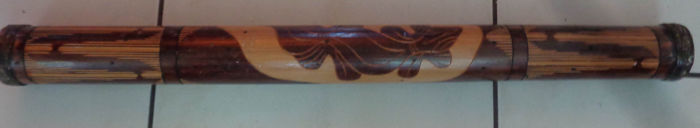 Aboriginal Rain stick with traditional burns