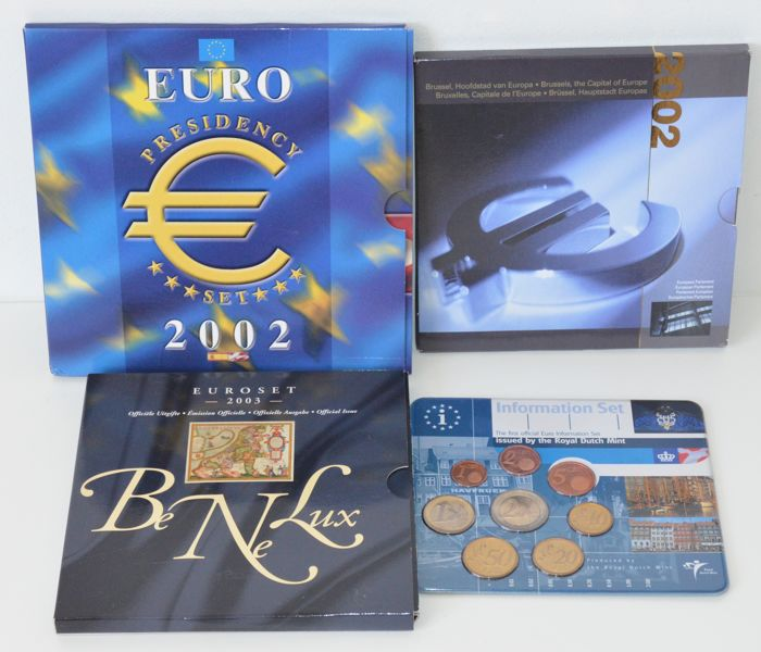 Europe – Sets with euro coins 2001/2003 (4 different ones)